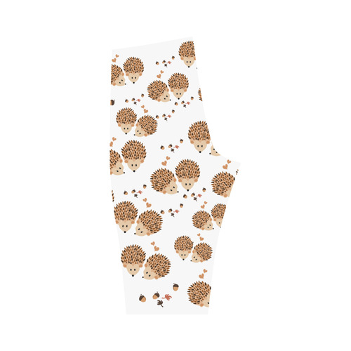Hedgehogs in autumn Hestia Cropped Leggings (Model L03)