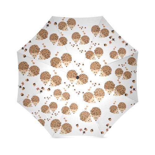 Hedgehogs in autumn Foldable Umbrella (Model U01)
