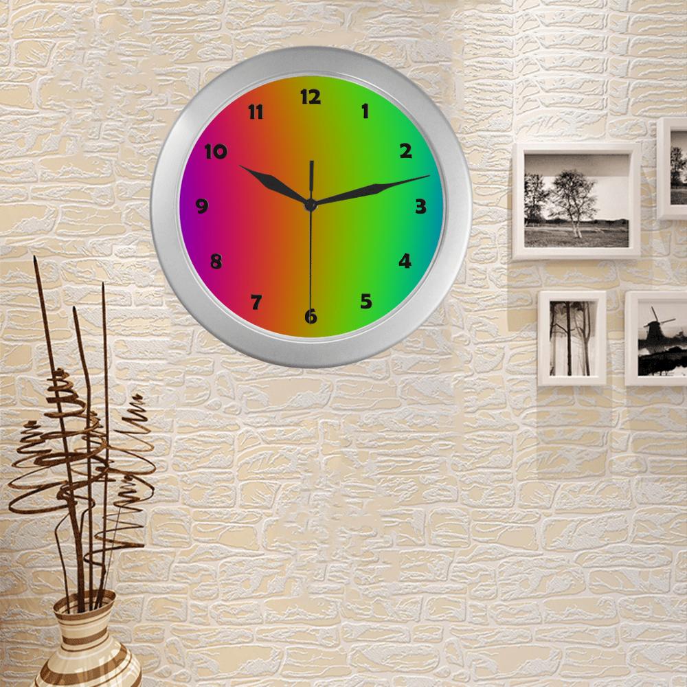 ClockFace_NumbersBlack_01 Silver Color Wall Clock