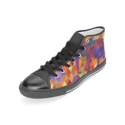 Modern Triangle Pattern Elephants Women's Classic High Top Canvas Shoes (Model 017)