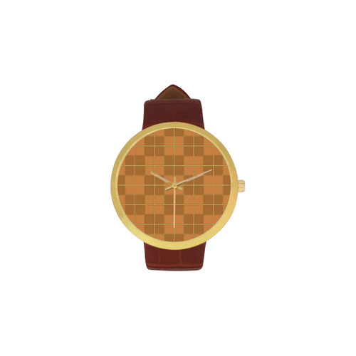 Natural Mosaic Women's Golden Leather Strap Watch(Model 212)