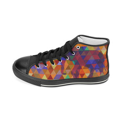 Modern Triangle Pattern Elephants Women's Classic High Top Canvas Shoes (Model 017)