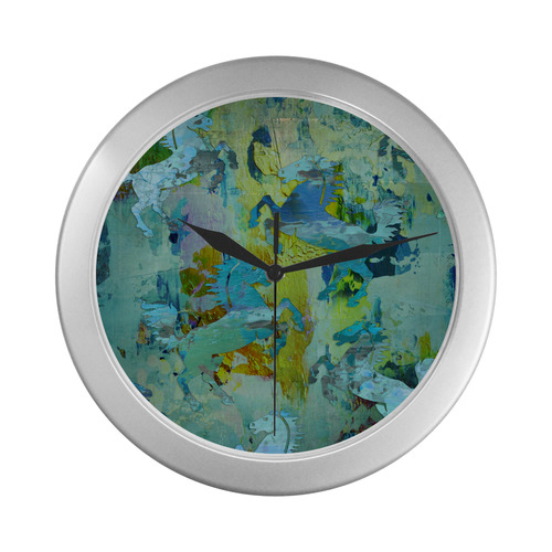 Rearing Horses grunge style painting Silver Color Wall Clock