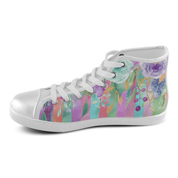 Watercolor Flowers Stripes Cyan Purple Orange Women's High Top Canvas Shoes (Model 002)