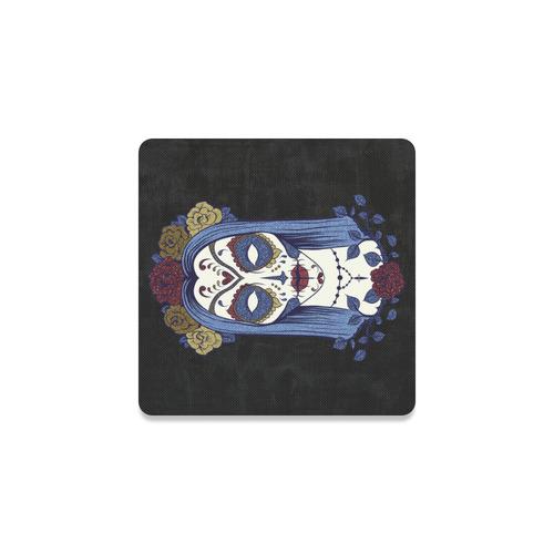 Dark gothic rose sugar skull Square Coaster