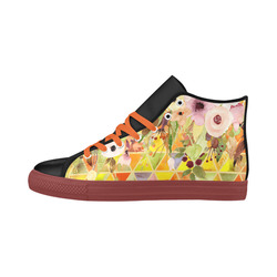 Watercolor Flowers Triangles Orange Yellow Green Aquila High Top Microfiber Leather Women's Shoes (Model 032)