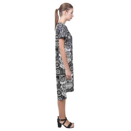 sugar skull Short Sleeves Casual Dress(Model D14)