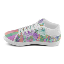Watercolor Flowers Stripes Cyan Purple Orange Women's Chukka Canvas Shoes (Model 003)