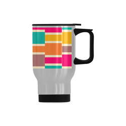Connected colorful rectangles Travel Mug (Silver) (14 Oz)