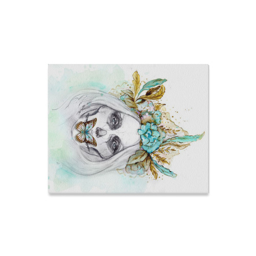 "Sugar Skull Girl Mint Gold Canvas Print 16""x20"""