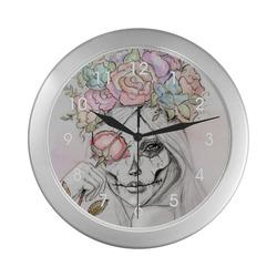 Boho Queen, skull girl, watercolor woman Silver Color Wall Clock