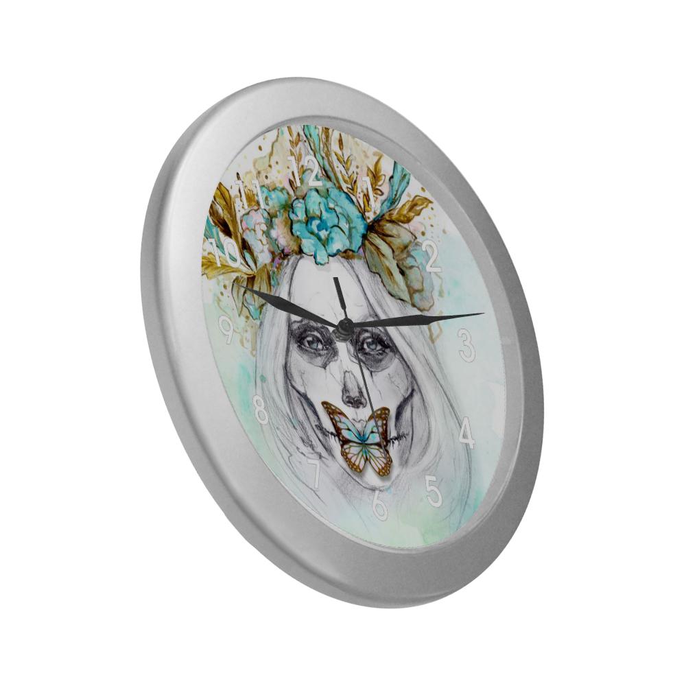 Sugar Skull Girl Mint Gold Silver Color Wall Clock