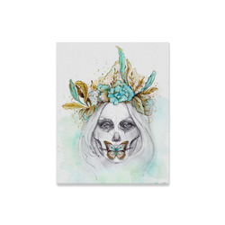 "Sugar Skull Girl Mint Gold Canvas Print 16""x20"""
