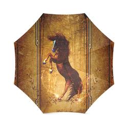 Awesome horse, vintage background Foldable Umbrella (Model U01)