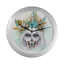 Sugar Skull Girl Mint GoldSugar Skull Girl Mint Gold Silver Color Wall Clock