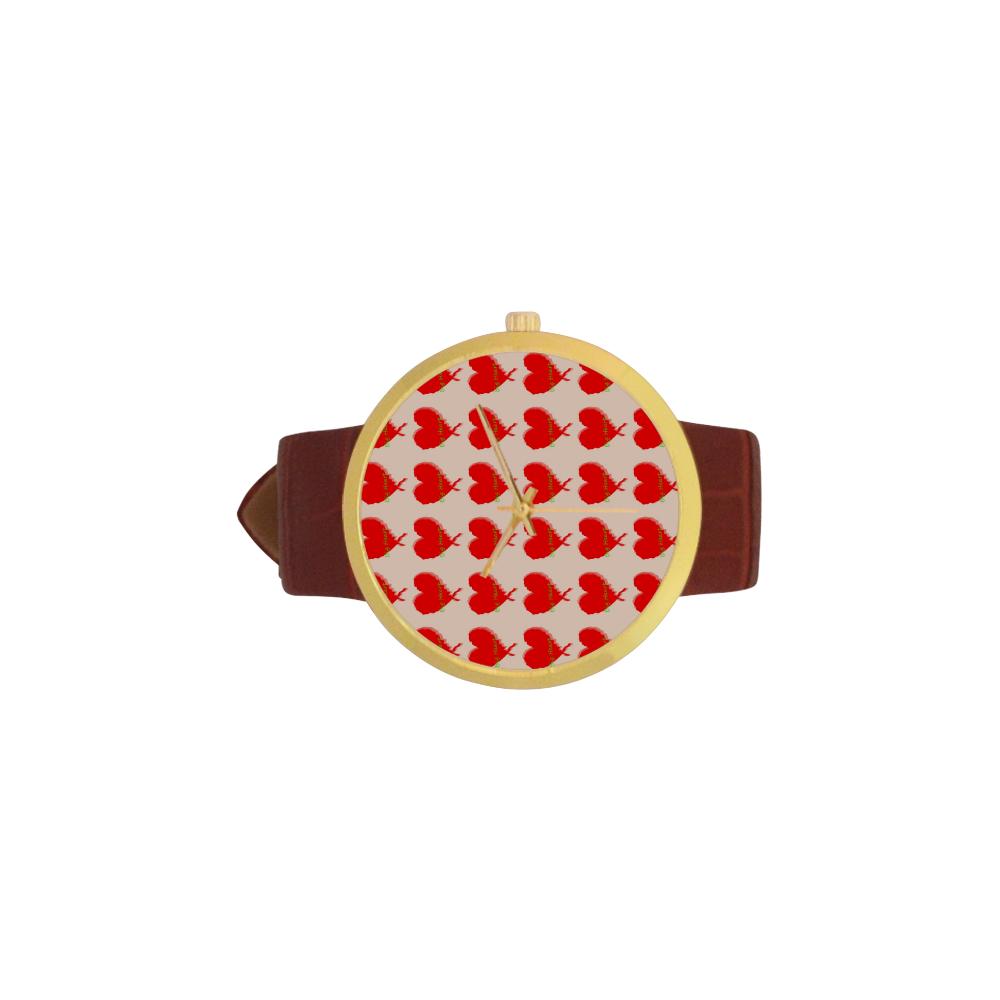 Big Heart Women's Golden Leather Strap Watch(Model 212)