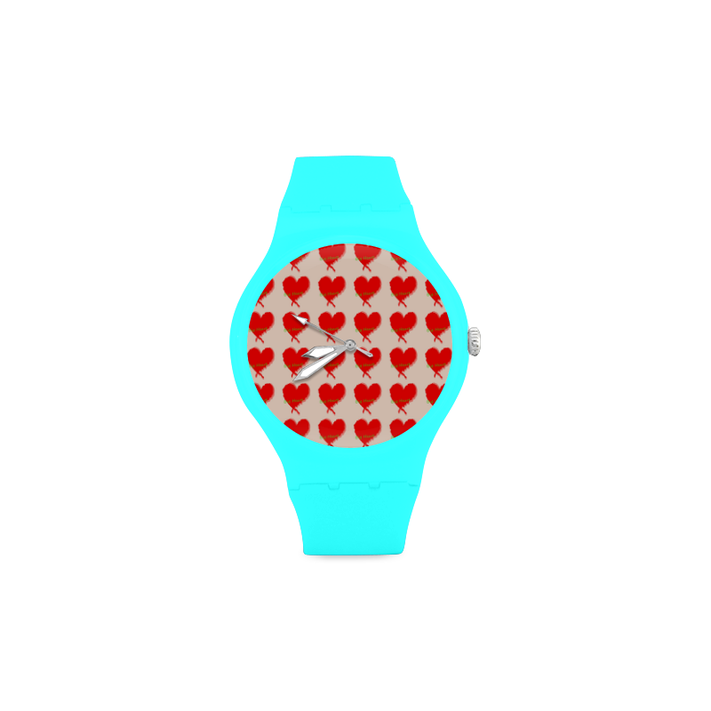 Big Heart Unisex Round Rubber Sport Watch(Model 314)