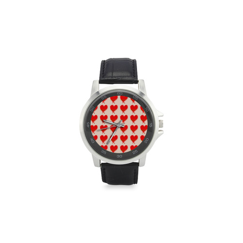 Big Heart Unisex Stainless Steel Leather Strap Watch(Model 202)