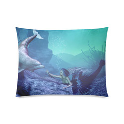 """mermaid and dolphin Custom Zippered Pillow Case 20""""x26""""(Twin Sides)"""