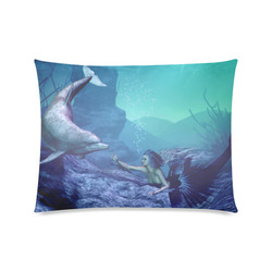 """mermaid and dolphin Custom Picture Pillow Case 20""""x26"""" (one side)"""