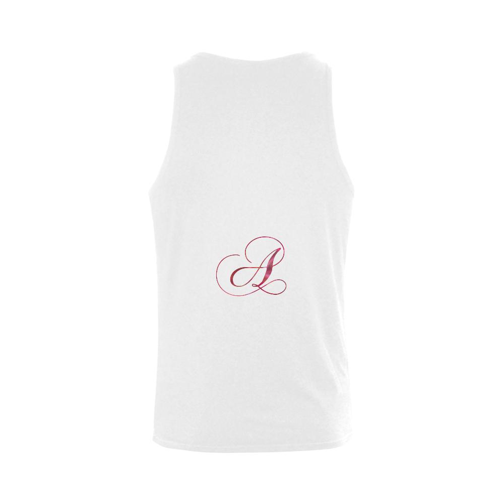 Letter A Pink Red - Jera Nour Plus-size Men's Shoulder-Free Tank Top (Model T33)