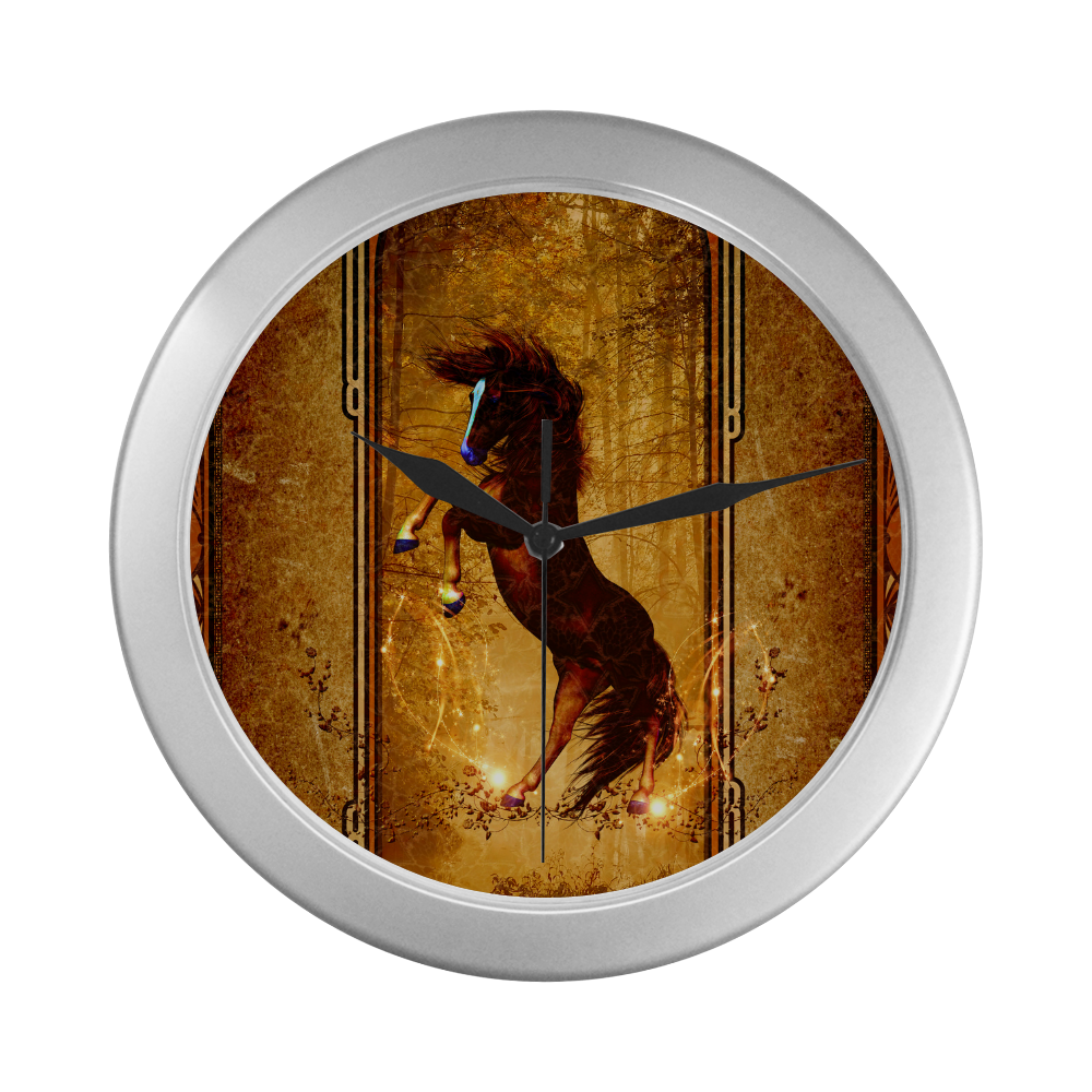 Awesome horse, vintage background Silver Color Wall Clock