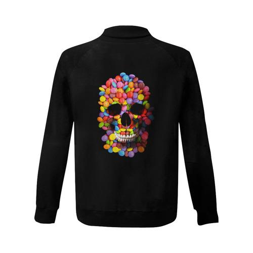Halloween Candy Sugur Skull Women's Baseball Jacket (Model H12)