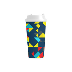 Shapes on a blue background Double Wall Plastic Mug