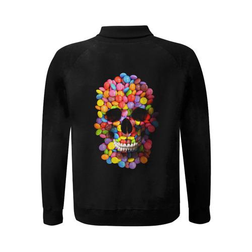 Halloween Candy Sugur Skull Men's Baseball jacket (Model H12)