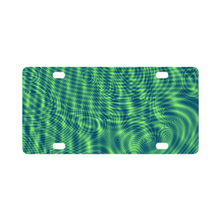 abstract moire green Classic License Plate