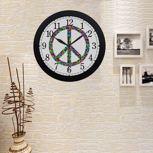 Abstract Triangles Peace Sign Circular Plastic Wall clock