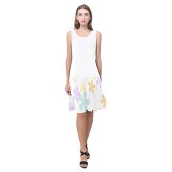 Pastel Retro Flowers Sleeveless Splicing Shift Dress(Model D17)