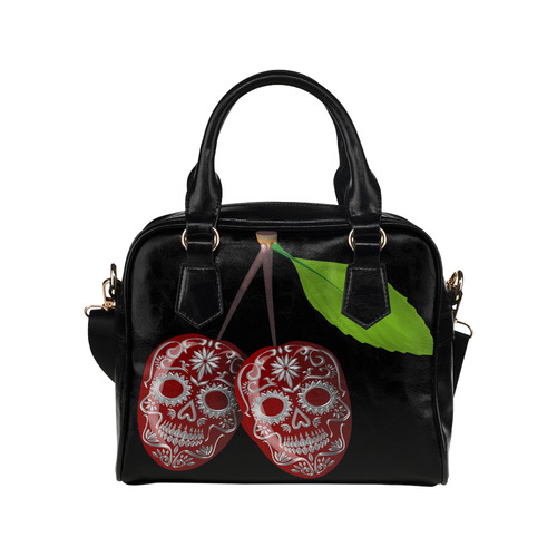 Cherry Sugar Skull Shoulder Handbag (Model 1634)