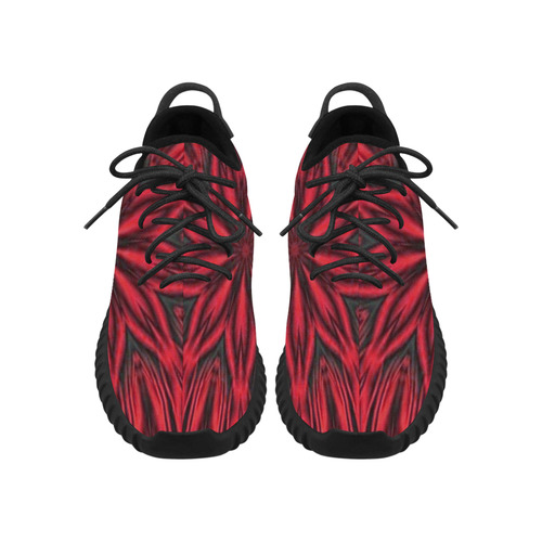 Red Tiger Stripes Grus Women's Breathable Woven Running Shoes (Model 022)
