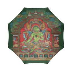 Green Tara from Tibetan Buddhism Foldable Umbrella (Model U01)