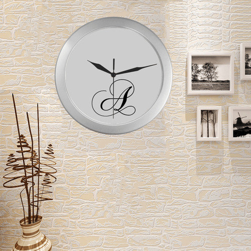 Letter A Classic Black - Jera Nour Silver Color Wall Clock