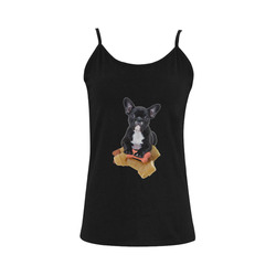 Sweet little Bulldog makes you happy Women's Spaghetti Top (USA Size) (Model T34)