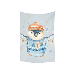 """cute penguin, christmas Cotton Linen Wall Tapestry 40""""x 60"""""""