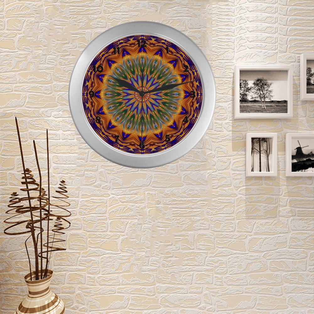 Sentinel Mandala Silver Color Wall Clock