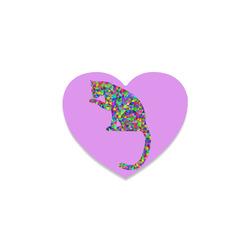 Sitting Kitty Abstract Triangle Purple Heart Coaster