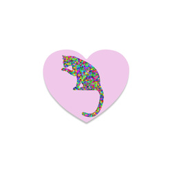Sitting Kitty Abstract Triangle Pink Heart Coaster