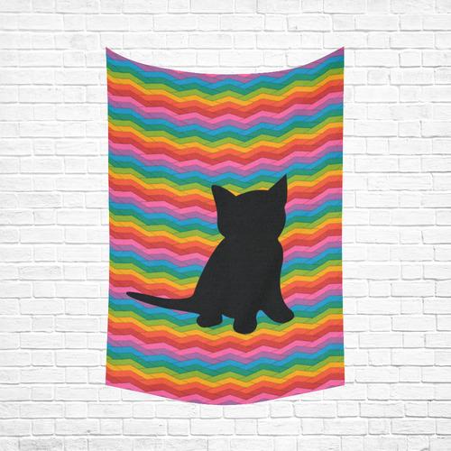 "Lovely Kitten Shape Cotton Linen Wall Tapestry 60""x 90"""