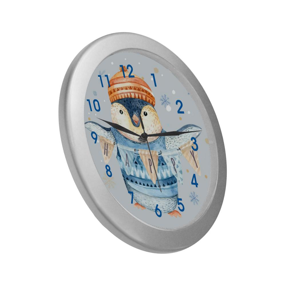 BlueClockFace1 Silver Color Wall Clock