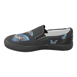 Morpho cypris butterflies painting Women's Unusual Slip-on Canvas Shoes (Model 019)