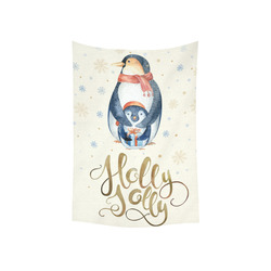 """cute penguin, christmas wishes Cotton Linen Wall Tapestry 40""""x 60"""""""
