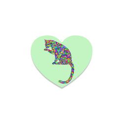 Sitting Kitty Abstract Triangle Green Heart Coaster