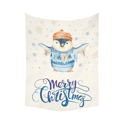 """cute penguin, christmas wishes Cotton Linen Wall Tapestry 60""""x 80"""""""