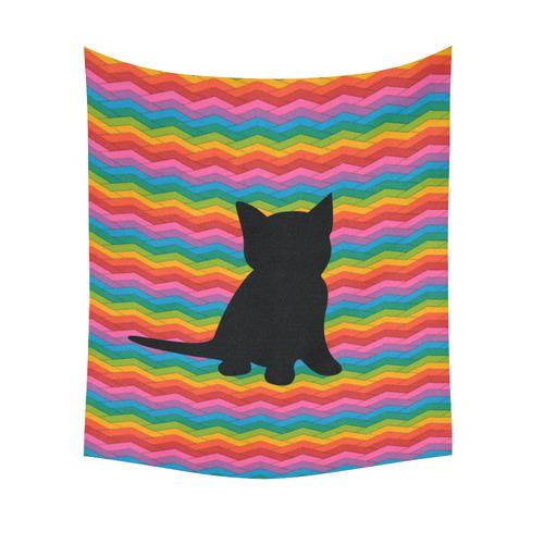 "Lovely Kitten Shape Cotton Linen Wall Tapestry 51""x 60"""