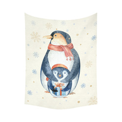 """cute penguin, christmas Cotton Linen Wall Tapestry 60""""x 80"""""""