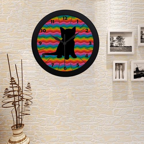 Lovely Kitten Shape Circular Plastic Wall clock